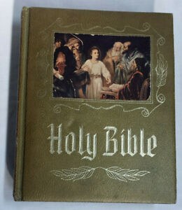 1964-Heirloom-Holy-Bible-Red-Letter-Pictorial-Pronouncing-Dictionary-KJV
