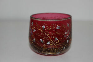 ANTIQUE-HAND-PAINTED-ENAMEL-CRANBERRY-GLASS-CUP-OR-OPEN-SUGAR-BOWL-FLORAL-MOSER