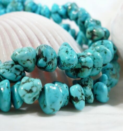MexicanTurquoise Nugget Bead Strand Sleeping Beauty Bright Blue 7/9 MM 16""