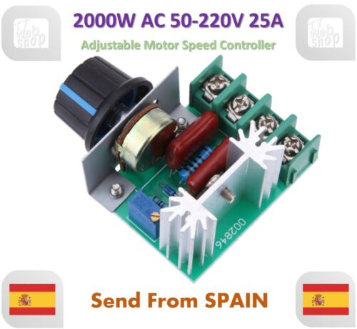 AC 50-220V 2000W SCR Dimming Dimmer Adjustable Motor Speed Controller Thermostat
