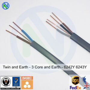 Quality-Twin-and-Earth-3-Core-and-Earth-Electrical-Cable-Wire-6243-6242Y-Mains