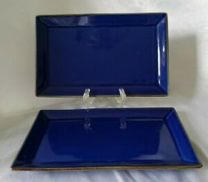 2-lot-set-Pottery-Barn-Japan-ASIAN-SQUARE-BLUE-Sushi-Dish-plate-rectangle-10-034