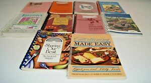 Lot of 10 Vintage Spiral Bound Cookbooks Mayberry Church Pastries Birthday