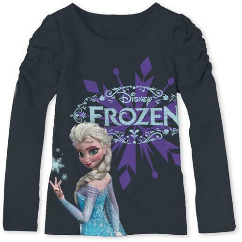 Disney Frozen ELSA  Puff Long Sleeve CHARCOAL Graphic Tee T-Shirt Top For Girls