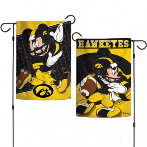 "Iowa Hawkeyes NCAA Mickey Mouse Garden Flag Licensed 2-Sided 12.5/"" x 18/"""
