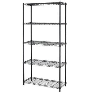 Chrome-Black-5-Shelf-Home-Office-Steel-Wire-Shelving-72-034-x36-034-x14-034-Storage-Rack