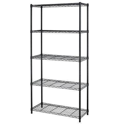 """Chrome/Black 5-Shelf Steel Wire Tier Layer Shelving 72""""x36""""x14"""" Storage Rack"""