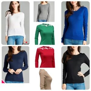 Womens-Thermal-Long-Sleeve-Basic-Solid-Waffle-Knit-Crew-Neck-T-Shirt-Top-Jr-Siz