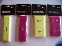 Nike Headband Wristband Running Workout Swoosh Fireberry Electric Yelow Nip
