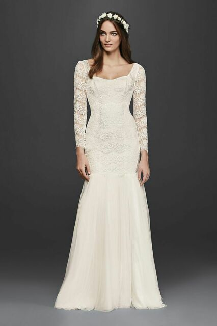 Galina Davids Bridal KP3818 Long Sleeve Lace Mermaid Wedding Dress Ivory Size 4