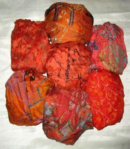 2019 DernièRe Conception Lot Pure Soie Vintage Sari Remnant Tissu 7 Pcs 1 Ft (environ 0.30 M) Orange Coussin #, Ael5-afficher Le Titre D'origine Par Processus Scientifique