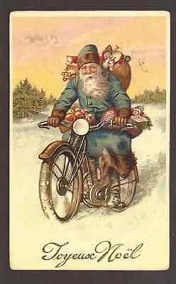 Santa Claus on Vintage Motorbike with Toys Bag, Postcard, Carte Postale,