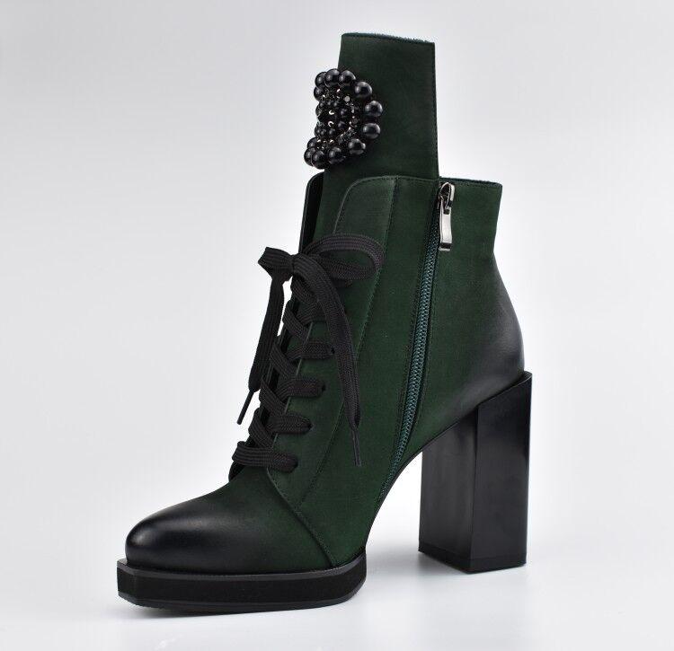 Retro para Mujer Puntera en Punta granos botas al Tobillo de Zapatos de Tobillo tacones altos con Encaje Grueso Fiesta cb3daa