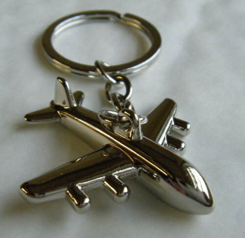 Chrome Metal Airplane Keyring Chrome Keychain Gift Boxed