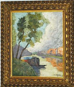 PENICHE-EN-BORD-DE-SEINE-1908-FAUVISME-Toile-6F-Signe-Ray-DEBAYLE-XXe-CADRE