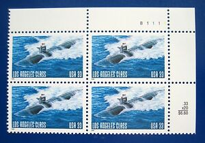 Sc-3372-Plate-Block-33-cent-Los-Angeles-Class-Submarine-Issue-ch2