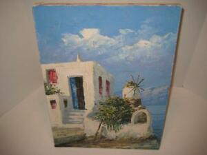 Vintage-Signed-Original-Oil-Painting-On-Canvas-Dayes-Seascape-16-034-X-12-034