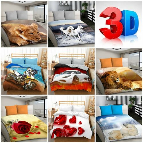 3D Bedding Duvet Set with Animal Pattern and Flowers Double Size 200 x 200cm