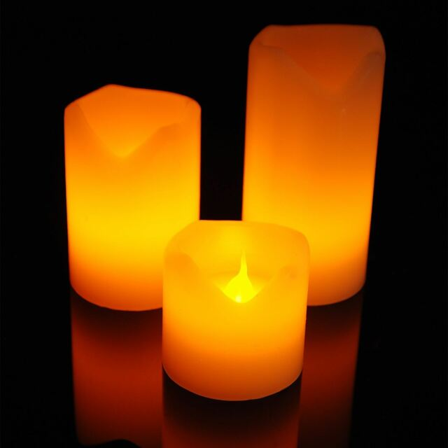 Set of 3 Flickering Flame Led Flameless Wax Mood Candles Battery Operated