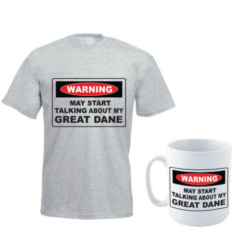 MAY START TALKING ABOUT MY GREAT DANE Dog Pet Men/'s T-Shirt and Mug Set