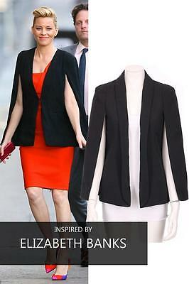 CELEB LOOK Cape Blazer with Collar Open Front and Long Sleeves
