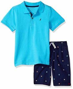 Nautica Boys Striped Polo 2pc Short Set Size 2T 3T 4T 4 5 6 7