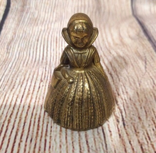 Figural Hand Bell Lady in ball gown Vintage Style Collectible Brass Bronze