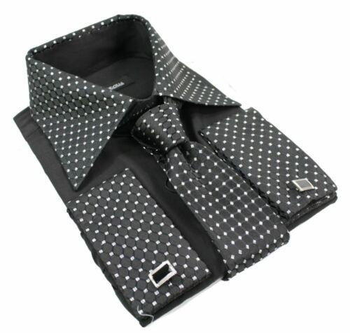 Herrenhemd Knopfleiste Krawatte Manschettenknöpfe Schwarz Silber Glänzend Trimm