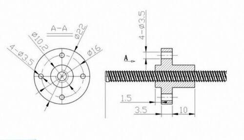 T10-T30 Gauche Aile Trapézoïdale écrou Trapézoïdal Lead CNC Routeur Machine Drive
