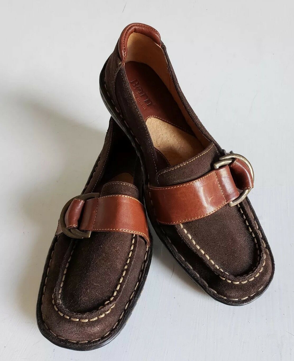 BORN Womens Brown Leather Casual Slip On Loafer shoes US Sz 7