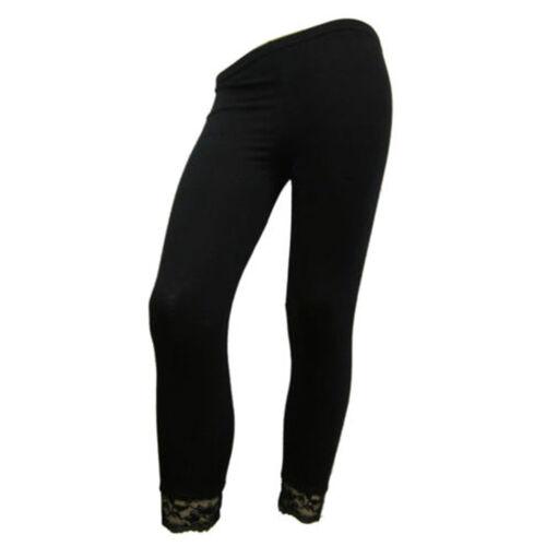 Ladies Womens Bottom Lace 3//4 Cropped Viscose Women Legging Trouser Pants 8-16