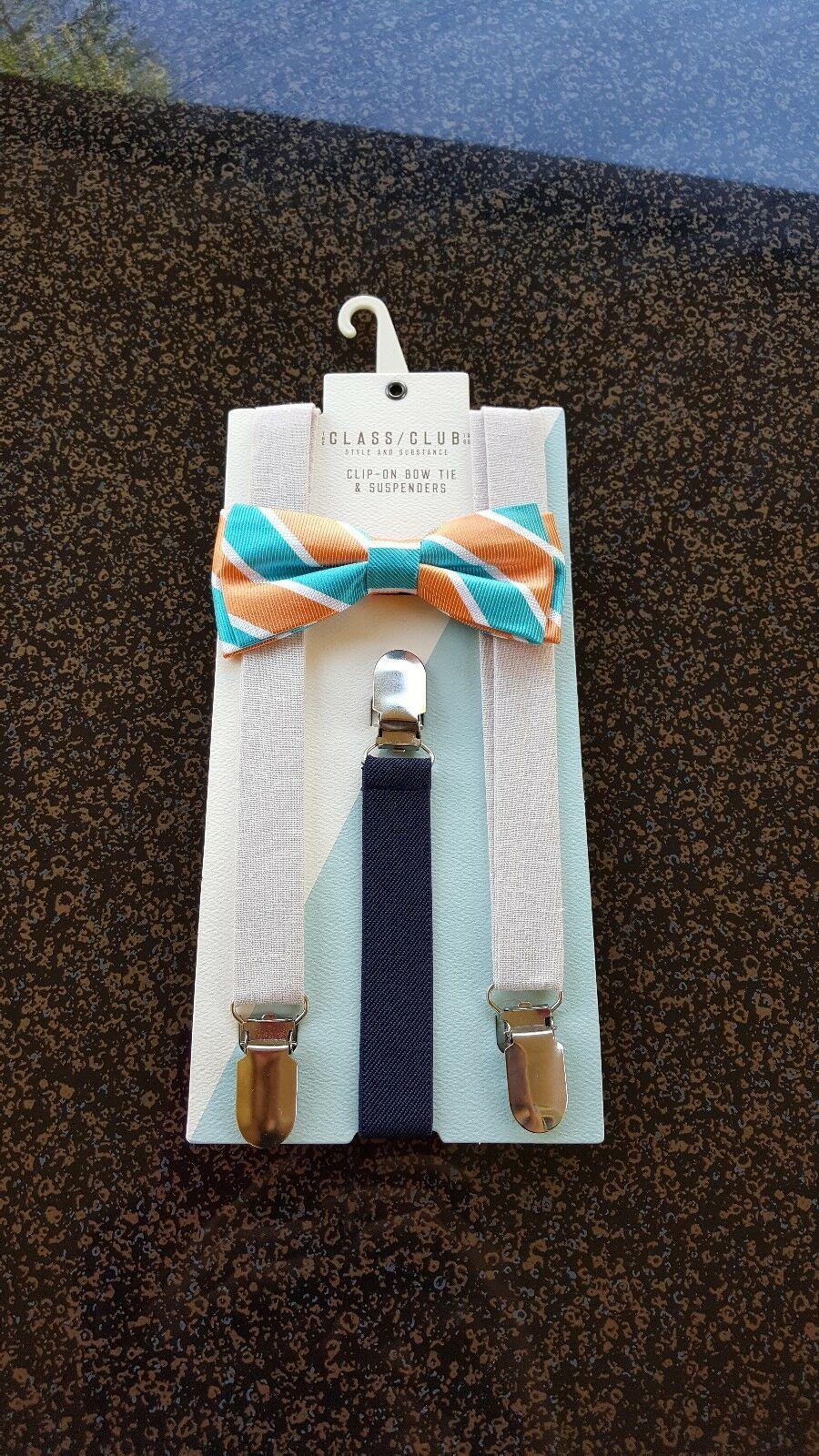 The Classic Club Children's Striped Clip-On Bow Tie & Solid Suspenders