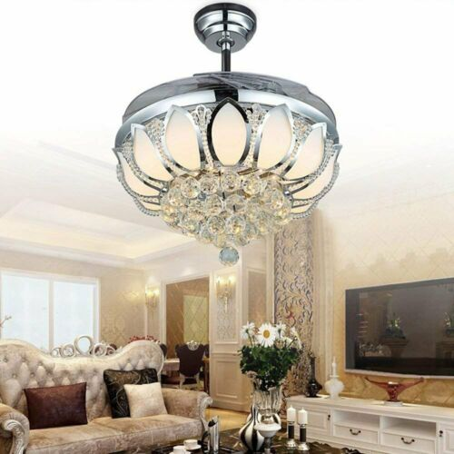 """42/"""" Chrome Silver Remote Invisible Ceiling Fan Lamp Crystal LED Chandelier Light"""