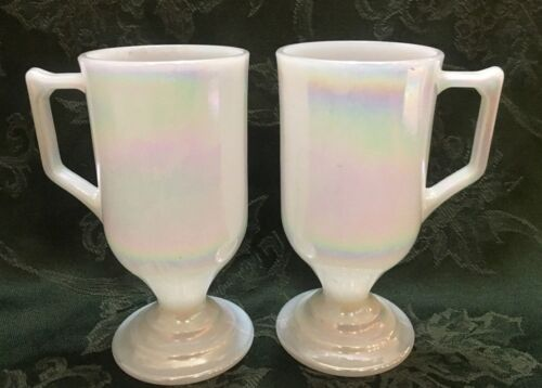 White Pearl Moonglow 2 pcs Footed Cup Mug Cappuccino Irish Coffee Iridescent Vtg