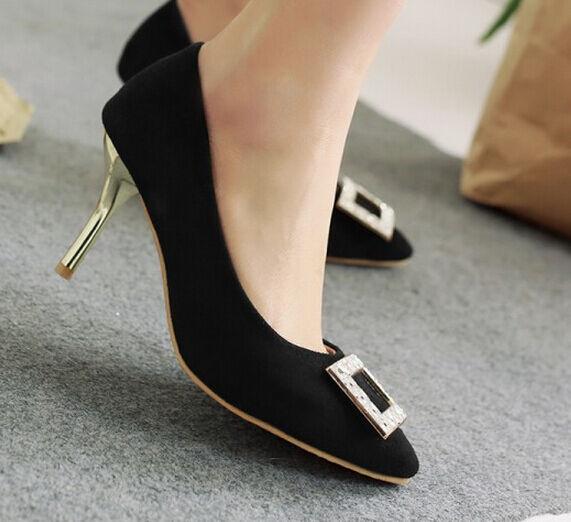 Décollte Schuhe Pumps Elegant Frau Absatz Stift Stilett 8.5 cm Schwarz 9182