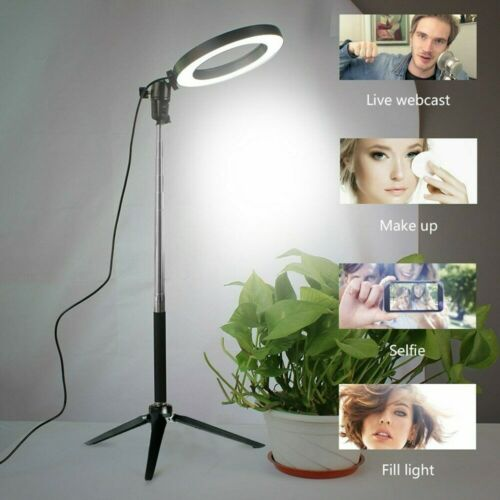 Dimmable LED Studio Camera Ring Light With Tripods Selfie Stick Ring Table Light
