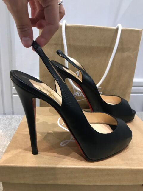 new arrival de96d 173df Christian Louboutin Black Peep Toe Heels Classic Collection 120 Kid EU39  UK6 US8