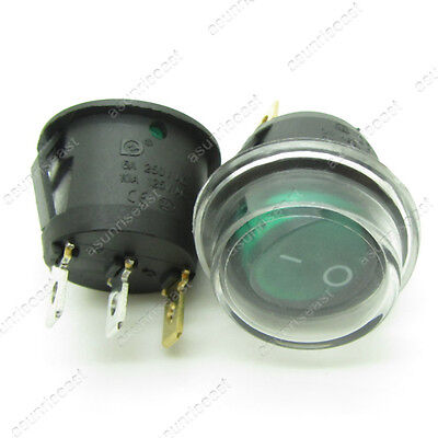 5 x Round Green Light Illuminated ON-OFF Rocker Boat Switch + Waterproof Coat