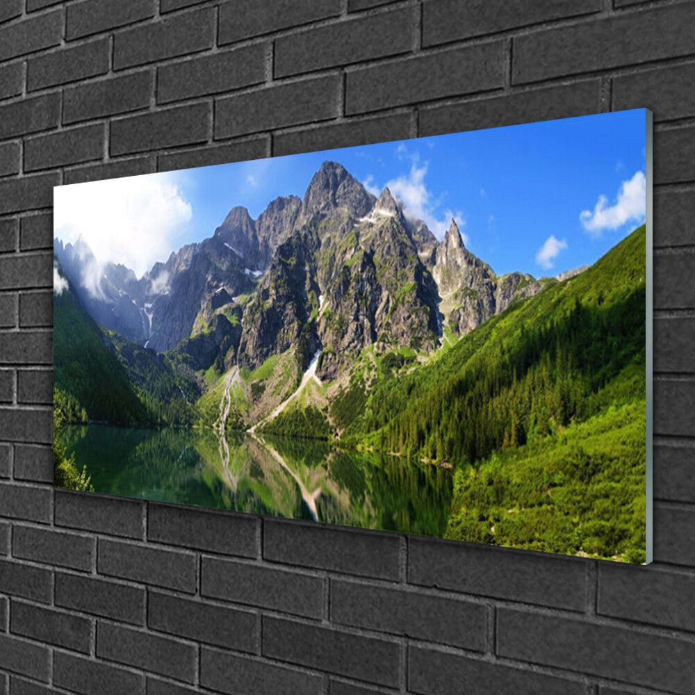Glass print Wall art 100x50 Image Picture Mountain Lake Nature