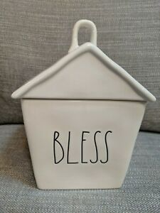 """New Rae Dunn """"BLESS"""" House Birdhouse Cookie Jar Canister Artisan Collection"""