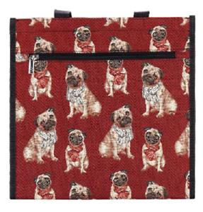 Mops-Tasche-Hund-Signare-Gobelin-Einkaufstasche-Einkaufsbeutel-Shopper-Tapestry