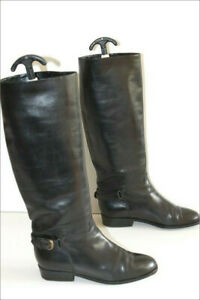 BALLY-Bottes-Cavalieres-Tout-Cuir-Lisse-Noir-Doublees-Cuir-T-38-5-TBE