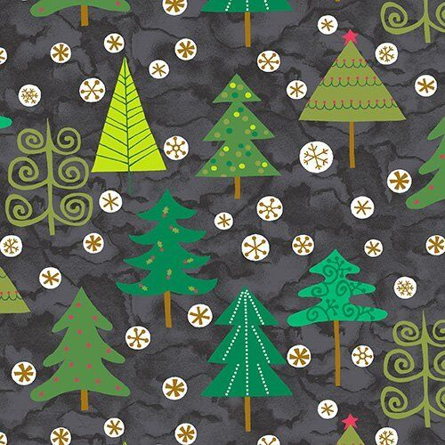 ANDOVER EVERGREEN CHRISTMAS TREES ON BLACK COTTON FABRIC BTY