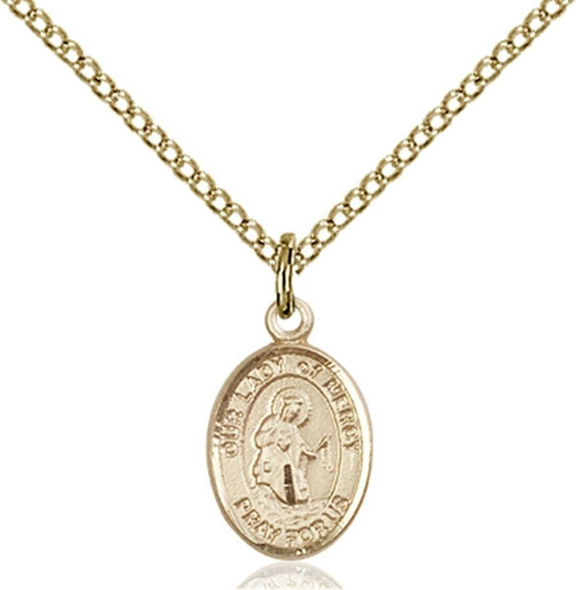 14KT gold Filled Our Lady of Mercy Charm Medal, 1 2 Inch