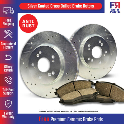 Rear Kit For: Ford Lincoln 2 Silver Drilled Rotors 5lug 4 Ceramic Pads
