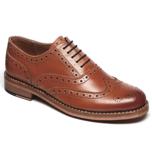 Genuine Leather Goodyear Welted Shoes Mens Traditional Brogues in Tan