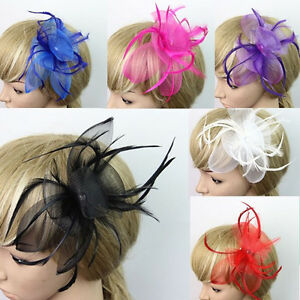 Elegant-1Pc-Women-039-s-Feather-Bowknot-Fascinator-Wedding-Party-Hair-Clip-7-Colors