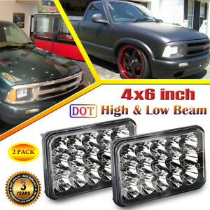2pc black 4x6 led headlights hi lo beam for chevy s10 blazer 1994 1995 1996 1997 ebay ebay