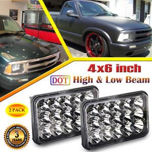 2pc black 4x6 led headlights hi lo beam for chevy s10 blazer 1994 1995 1996 1997 ebay ebay