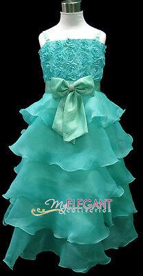 Green Rosette Pageant Wedding Flower Girls Dress Long Gown Size 3-12 Age 2-13Yrs